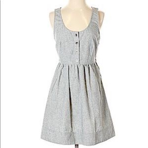 COPE fit and flare grey/blue sleeveless dress
